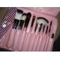 10pcs professionnel poils de chèvre rose poignée ensemble de brosse avec le cas rose de plaid couleur mignon