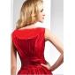 Vestido - Vermelho Festa Formal/Baile de Formatura Linha-A/Princesa U profundo Assimétrico/Longo Tafetá Tamanhos Grandes