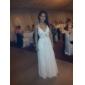 Vestido de Noite Comprido em Chifon com Decote em V (Inspirado em Elisabetta Canalis nos Globos de Ouro)