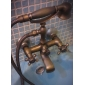 Antique Inspired Tub Faucet with Hand Shower (Antique Brass Finish)