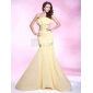 Prom/Military Ball/Formal Evening Dress - Daffodil Plus Sizes Trumpet/Mermaid Strapless Sweep/Brush Train Chiffon/Stretch Satin