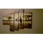 dipinto a mano olio pittura di paesaggio con struttura allungata - Set di 5