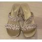 Damskor - Läder - Låg klack - Sandal - Sandal - Formellt - Svart / Guldfärgad