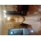 웨딩 드레스 - 아이보리(색상은 모니터에 따라 다를 수 있음) 시스/컬럼 채플 트레인 튜브탑 쉬폰 플러스 사이즈
