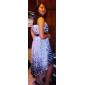 TS Pot Dots Flower Printed Asymmetrical Dress