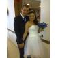 Lanting Bride® De Baile Pequeno / Tamanhos Grandes Vestido de Noiva - Chique e Moderno / Recepção Vestidos Brancos Justos Até os Joelhos