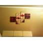 met de hand geschilderde bloemen olieverfschilderij met gestrekte frame - set van 4
