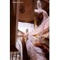 Haine Bal Gât Înalt Trenă Capelă Organza Rochie de mireasă cu Mărgele Aplică Drapat Părți Niveluri de LAN TING BRIDE®