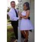 Ball Gown Plus Sizes Wedding Dress - Ivory Knee-length Bateau Satin/Tulle