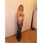 Formal Evening/Military Ball Dress Sheath/Column V-neck Floor-length Tulle/Stretch Satin