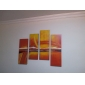 Hand-painted Abstract Oil Painting with Stretched Frame - Set of 4