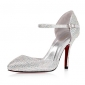 Satin Upper Stiletto Heel Closed Toe With Crystal Party Shoes.More Colors Available
