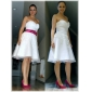 A-line/Princess Plus Sizes Wedding Dress - Ivory Knee-length Sweetheart Satin/Organza