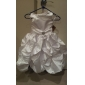 Lanting Bride Ball Gown Tea-length Flower Girl Dress - Satin Sleeveless Scoop with Crystal Detailing / Draping / Pick Up Skirt