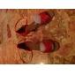 Chaussures de danse (Rouge) - Non personnalisable - Talon aiguille - Satin - Danse latine/Salle de bal