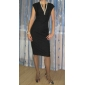 TS Vintage V-Neck Slit Sheath Dress