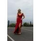 Бальное, шифоновое платье, с V-образным вырезом, с длиной до пола