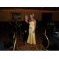 Trompetă / Sirenă Fără Bretele In Formă de Inimă Lungime Podea Satin Rochie Domnișoară Onoare cu Flori Drapat Părți de LAN TING BRIDE®