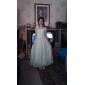 Lanting Bride Tea-length Satin Chiffon Junior Bridesmaid Dress A-line / Sheath / Column One Shoulder / Sweetheart Natural withFlower(s) /