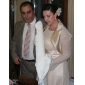 lange mouwen satijnen chiffon bruids avond jas / bruiloft wrap bolero schouderophalen