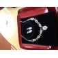 Silver Rhinestone Two Piece Ladies' Dazzling Leaves Wedding Jewelry Set (45 cm)