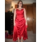 Tea-length/Asymmetrical Stretch Satin Bridesmaid Dress - Ruby Plus Sizes A-line Spaghetti Straps