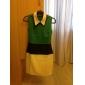 TS Color Block Collar Sheath Dress (More Colors)