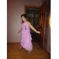 Floor-length Chiffon/Stretch Satin Junior Bridesmaid Dress - Sky Blue A-line/Princess V-neck