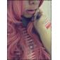 Perucas de Cosplay Vocaloid Megurine Luka Rosa Longas Anime/Games Perucas de Cosplay 90 CM Fibra Resistente ao Calor Feminino