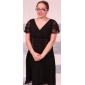 Lanting Bride A-line Plus Size / Petite Mother of the Bride Dress - Little Black Dress Tea-length Short Sleeve Chiffon / Tulle with