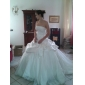 Ball Gown Plus Sizes Wedding Dress - Ivory Chapel Train Strapless Satin