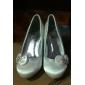 satin övre mellanprissegmentet häl slutna tår med satin blomma / rhinestone skor bröllop brud