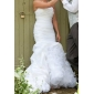 Fit & Flare Plus Sizes Wedding Dress - Ivory Court Train One Shoulder Taffeta
