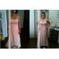 Lanting Bride Boden-Länge Chiffon Brautjungfernkleid Eng anliegend Trägerlos / Herzausschnitt Übergröße / Zierlich mitBlume(n) /