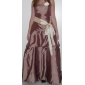 Floor-length Taffeta Bridesmaid Dress A-line / Princess Strapless Plus Size / Petite with Bow(s) / Pick Up Skirt / Sash / Ribbon