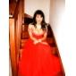 -line off-the-hartia lattia-pituus tylli ja sifonki ilta / kävelyttää mekko