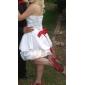 Lanting Bride Tot de knie Satijn Bruidsmeisjesjurk - Zwart jurkje Baljurk Strapless Grote maten / Petite metStrik(ken) / Pick-up rok /