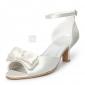satin övre mitten häl peep-toes med bowknot skor bröllop brud