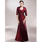 A-line Plus Sizes Mother of the Bride Dress - Burgundy Floor-length Half Sleeve Taffeta