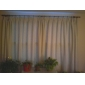Room Darkening Embossed Ivory Solid Curtain (Two Panels)