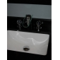Contemporary Chrome Finish Two Handles LED Waterfall Glass Bathroom Sink Faucet