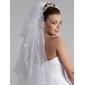 Véus de Noiva Três Camadas Véu Ponta dos Dedos Corte da borda 47,24 cm (120cm) Tule Branco Branco / MarfimLinha-A, Vestido de Baile,