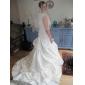 Lanting vestido de fiesta novia petite / tallas grandes de la boda del tren del vestido sin tirantes de la capilla de encaje / raso