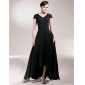 Sheath/Column Plus Sizes Mother of the Bride Dress - Black Asymmetrical Short Sleeve Chiffon