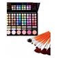 78 farver 3i1 professionel 60 øjenskygge 12 læbestift 6 blusher makeup kosmetik palet med spejl & 2 svamp applikator