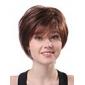 Sin tapa corto castaño ondulado 100% pelucas del pelo humano
