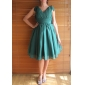 Lanting Bride Knee-length Chiffon Bridesmaid Dress A-line / Princess V-neck Plus Size / Petite with Bow(s) / Draping / Ruching