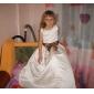 Linha A De Baile Princesa Longo Vestido para Meninas das Flores - Cetim Decote em U com Apliques Miçangas Laço(s) Faixa / Fita