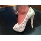 magnifiques pompes talon aiguille / dentelle peep toe avec strass mariage / partie chaussures