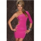 Women's Pink Single Sleeve Asymmetrical Club Sexy Dress(Bust:82-96,Waist:68-94,Hip:90-105,Length:82.7-97CM)